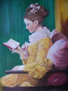 The young reader. (Fragonard copy). Oil-on-canvas-90X60-cm. 2009